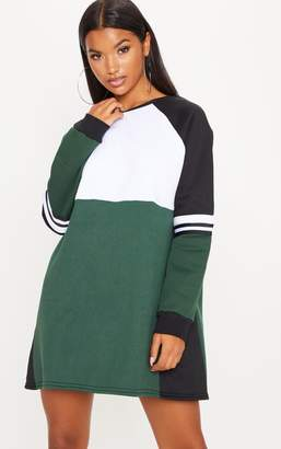 PrettyLittleThing Pink Colour Block Sweater Dress
