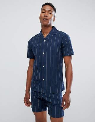 Lindbergh Short Sleeve Striped Shirt With Revere Collar In Navy