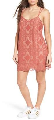 Love, Fire Strappy Lace Shift Dress