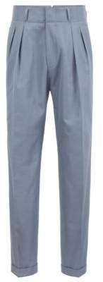 BOSS Hugo Relaxed-fit high-waisted pleated trousers in Italian cotton Argos 34R Open Grey