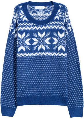 H&M Jacquard-knit Sweater - Blue