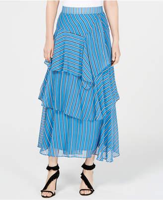 INC International Concepts I.n.c. Striped Asymmetrical Tiered Maxi Skirt