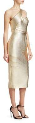 Rubin Singer One-Shoulder Metallic Cocktail Dress