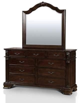 Sun & Pine Alvaro Traditional Antique Inspired Dresser And Mirror Set Brown Cherry - Sun & Pine