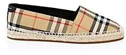 Burberry Women's Leather& Cotton Espadrille Slip-Ons