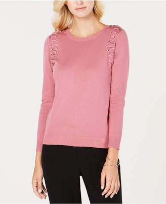 NY Collection Petite Lace-Up Detail Sweater