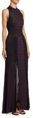 Roberto Cavalli Embroidered Pleated Gown