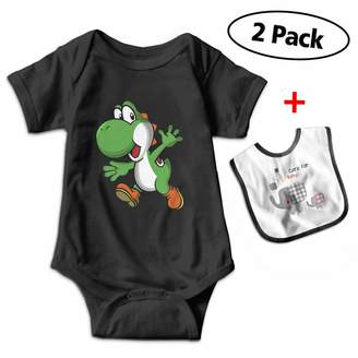 Fillmore-M Yo-shi Say Bye Short Sleeve Romper Tank Tops for 3-24 Months Toddler with Baby Bibs