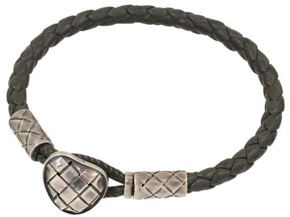 Bottega Veneta Bottega Veneta Intrecciato Sterling Sliver Leather Bracelet