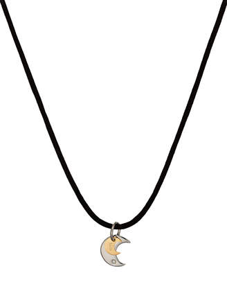 Damiani Bliss By Stainless Steel Twice Moon-Pendant Cord Necklace