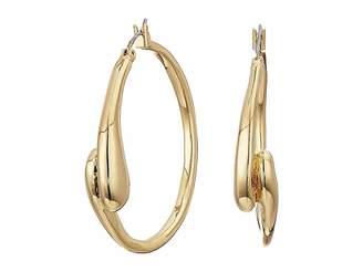 Robert Lee Morris Shiny and Brushed Gold Tone Curved Hoop Earrings