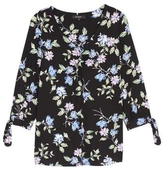 Evans Floral Tie Sleeve Top