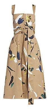 Oscar de la Renta Women's Utilitarian Floral Full Skirt Dress