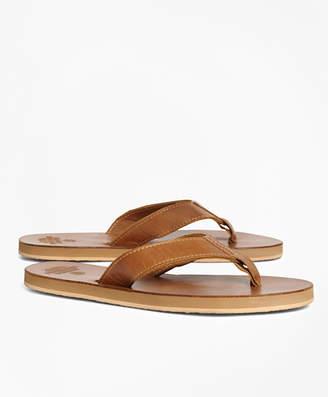 Brooks Brothers Leather Flip-Flops