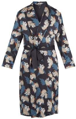 Meng - Floral Print Silk Satin Robe - Mens - Navy Multi