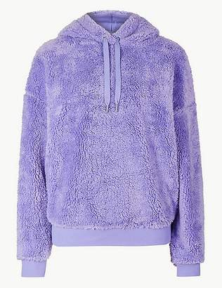 Marks and Spencer Borg Long Sleeve Hooded Sweatshirt
