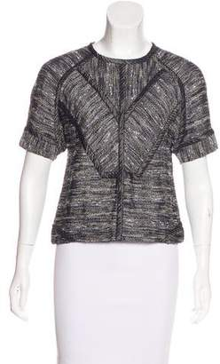 Derek Lam Tweed Short Sleeve Top