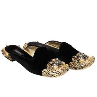 Dolce & Gabbana Black Velvet Sandals