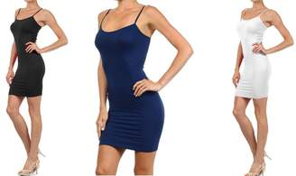 Fashion MIC Women Solid Color Seamless Cami Slip Dress with Spaghetti Straps
