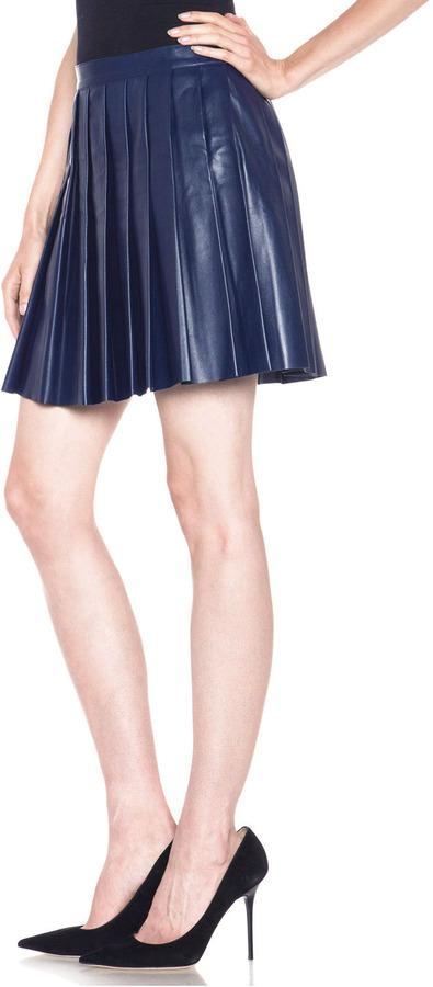 Derek Lam Leather Pleated Skirt in Blue
