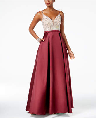 Xscape Evenings Deep-v Sequined Gown