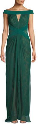 Tadashi Shoji Off-the-Shoulder Pintuck & Lace Jersey Gown