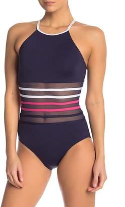 Nautica Mesh High Neck One-Piece Swimsuit