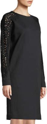 Akris Punto Sweatshirt Sheath Dress w/ Detachable Turtleneck