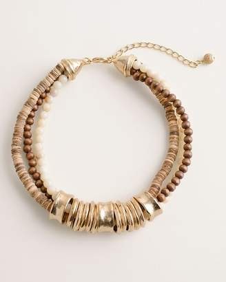 Chico's Chicos Beaded Neutral Ring Bib Necklace