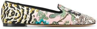 Etro multi pattern logo loafers