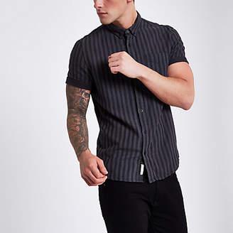 River Island Mens Grey stripe short sleeve button down shirt
