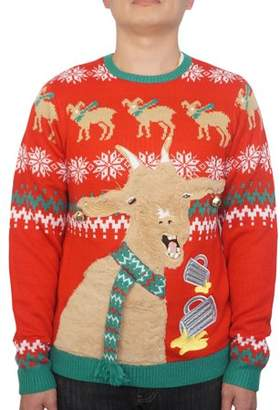 Holiday Men's Jingle Bell Goat Ugly Christmas Sweater, Up to size 2XL