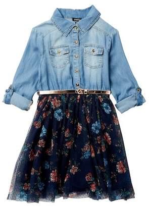 Zunie 3/4 Length Sleeve Roll Tab Denim & Swiss Dot Dress (Big Girls)