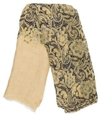 Dolce & Gabbana Lace Print Scarf Yellow Lace Print Scarf