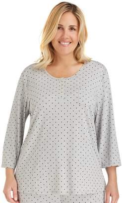 Cuddl Duds Plus Size Pajamas: Essentials Henley Pajama Top
