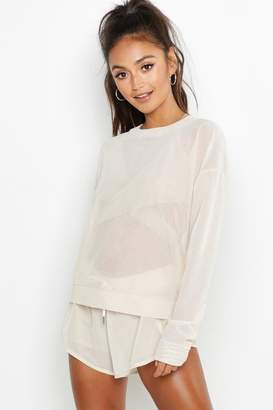 boohoo Petite Fit Premium Mesh Sweater