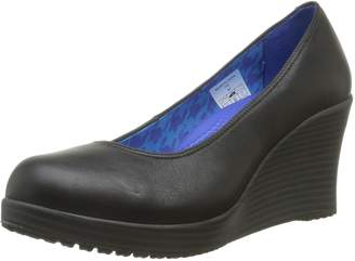 Crocs Womens A-Leigh Closed Toe Wedge Shoes, Black/Black, US 9