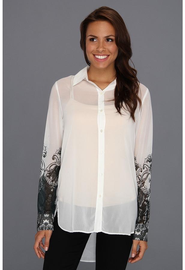 Kenneth Cole New York - Terry L/S Printed Top (White Combo) - Apparel