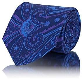 Barneys New York Men's Paisley Silk Faille Necktie - Blue