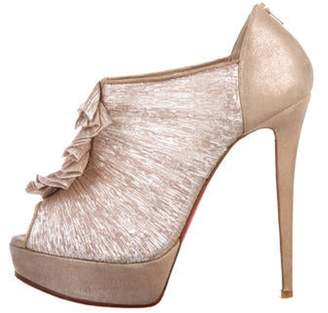Christian Louboutin Metallic Peep-Toe Booties Champagne Metallic Peep-Toe Booties