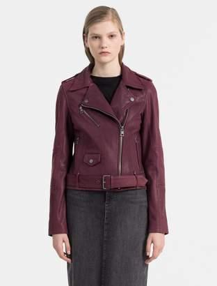 Calvin Klein textured leather biker jacket