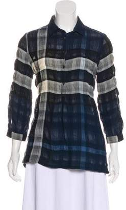 Burberry Plaid Long Sleeve Top