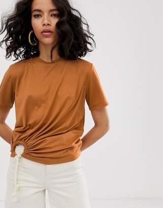 Asos Design DESIGN t-shirt with rope trim tie side