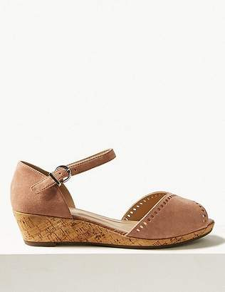 Marks and Spencer Suede Wide Fit 2 Part Wedge Sandals