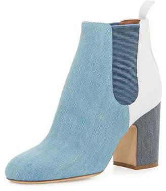 Laurence Dacade Mia Patchwork Denim 85mm Chelsea Boot, Blue $795 thestylecure.com