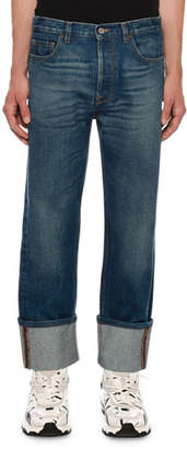 Valentino Men's Relaxed-Fit Cuffed-Hem Jeans