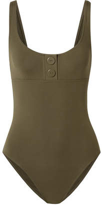 Eres Pop Line Up Button-detailed Swimsuit - Army green