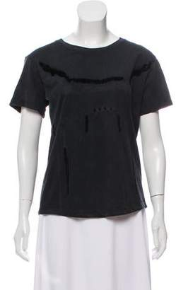 Theyskens' Theory Distressed Short Sleeve Top
