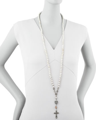 Love Heals Long Rosary Necklace, White