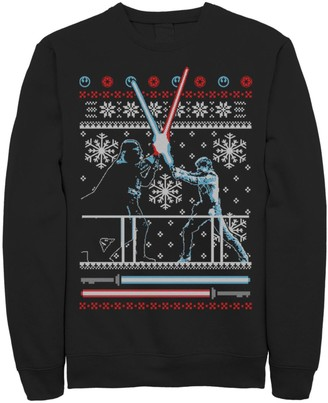Star Wars Licensed Character Men's Vader Luke Clash Ugly Christmas Sweater Fleece